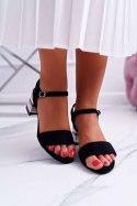 Sandały Damskie Na Słupku Kolorowy Obcas Czarne Niente